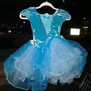 Little Girls Blue princess dress with lace
